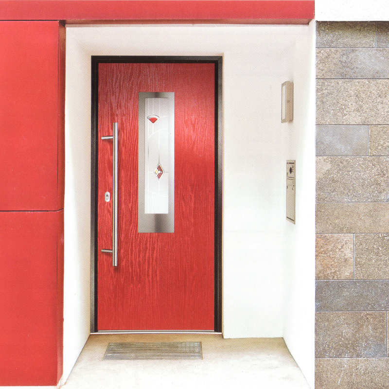 Red composite door double glazed front discount upvc windows cardiff