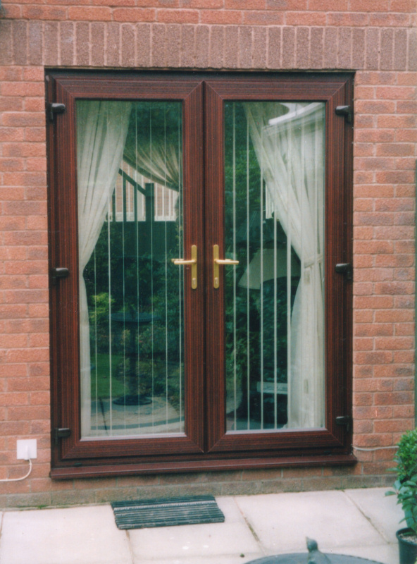 Brown french doors UPVC Cardiff