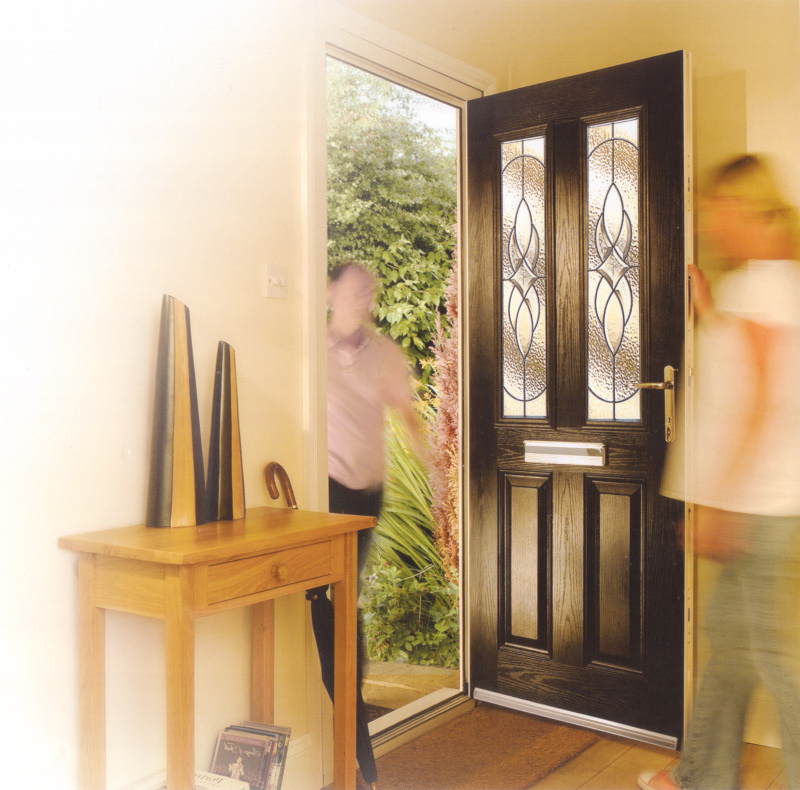 Black composite front door, the ultimate in security without compromise - Double Glazed