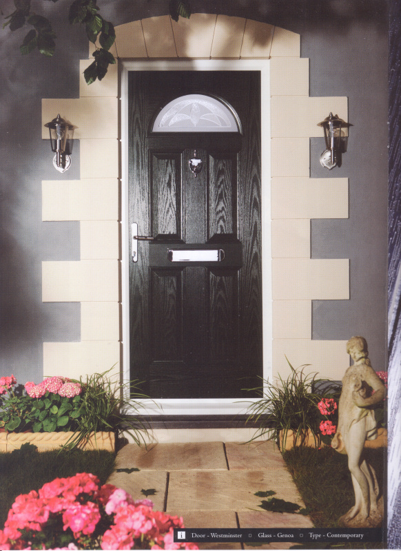 A secure and realiable black composite front door - Double Glazing as standard helping to save you energy