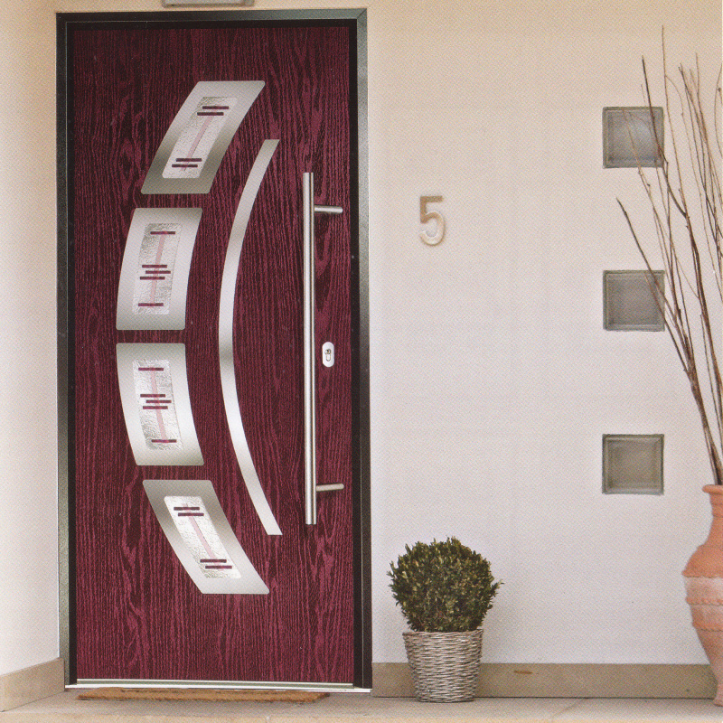 A modern composite front door in dark red - Discount UPVC Windows, Cardiff