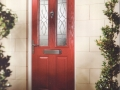 Composite front door in red with double glazing as standard - Discount UPVC Windows in Cardiff