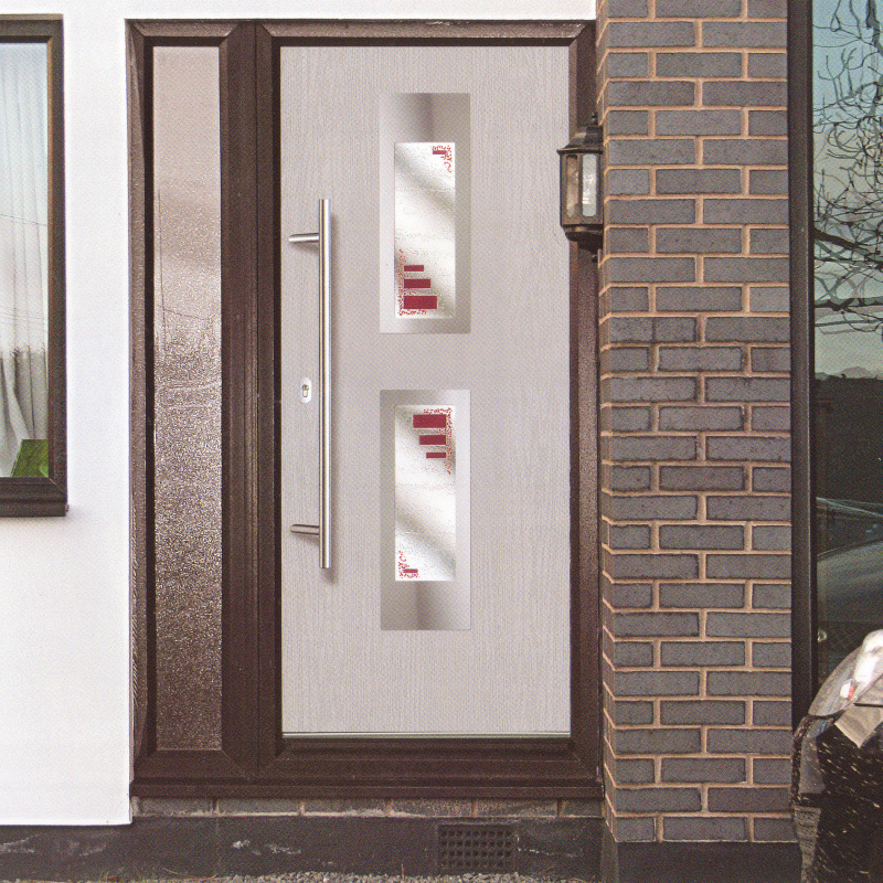 white composite front door  Cardiff with double glazing by Discount UPVC Windows